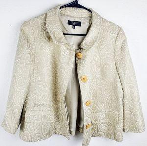TALBOTS Cream Metallic Holiday Button Blazer Coat